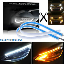 2x 30CM Switchback Car DRL LED Light Strip Sequential Turn Signal White + Amber