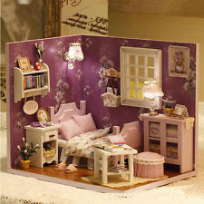 New Kits DIY Wood Dollhouse miniature with LED+Furniture+cover Doll house room x