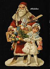 # GLANZBILDER # EF 5169 Bild - Karte /Riesenoblate:Weihnachtsmann mit Kind