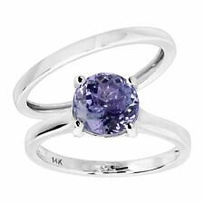 Natural Tanzanite anillo nupcial conjunto con Diamantes en Oro Blanco 14K