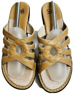 Womens Wedge Comfort Sofft Shoes Sz 11 Tan Leather Open Toe