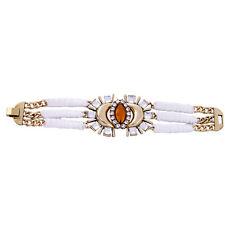 Bracelet Doré Large Multirang Ambré Art Deco Tissu Blanc Retro CT9