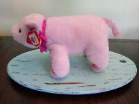 "Ty Petunia Pig Pink Classic Plush 15"" Magenta Ribbon Plush"