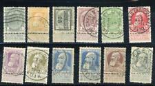 Belgium 1905-11 Scott# 82-91,82a, 87a canceled