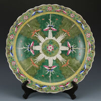 """Chinese Kangxi marked famille rose Porcelain painted Chinese cabbage plate 10.4"""""""