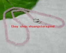 Fine 2x4mm Faceted Pink Watermelon Tourmaline Rondelle Necklace Silver Clasp