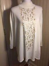 Women's 2X Knit Top BOB MACKIE Off White Sequined 3/4 Sleeve Mock Turtleneck