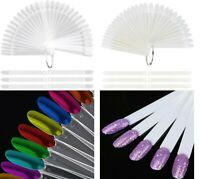 100x Clear Natural Nail Art Display Tip Gel Fan Swatches Practice Stick uk selle