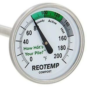 REOTEMP Backyard Compost Thermometer - 20 Inch Stem, with PDF Composting Guide