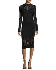 NEW MILLY Black Fractured Pointelle Eyelet Knit Long Sleeve Bodycon Midi M 8/10
