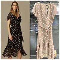 Wallis Black Beige Polka Dot Print Wrap Midi V Neck Dress Size 10 - 20
