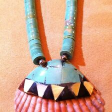 SANTO DOMINGO TURQUOISE HEISHI NECKLACE WITH INLAY SHELL
