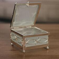 Jewellery Box Filigree Metal Glass Sides Trinket Box Homewares Gift 7.5cms NEW