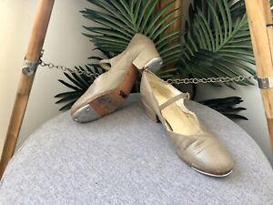 MISTI Tap Shoes Girls Womens Size 4 Tan Beige Sport Cuban 21.7cm Innersole (AF)