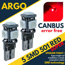 501 Led Red Xenon W5w Bulbs Canbus Side Light T10 5 Smd Super Interior Car 12v