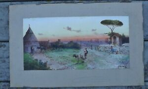 Antique original village w/ people & animals watercolor painting signed