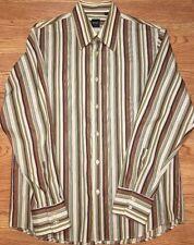 Mens Large Hugo Boss Slim Fit Dress Shirt Multicolor Striped Spread Collar