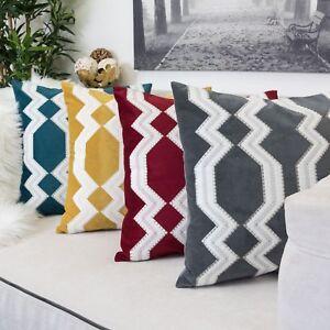 """Homey Cozy Applique Geometric Tie  Velvet Pillow Cover Large Cushion Case 20x20"""""""
