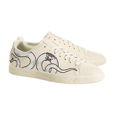 Puma Clyde Snake Embroidery Shoes 36811101 Size 11.5 Off White Cream