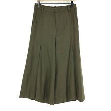 Vince Pants Size 4 Womens Mineral Pine Pleat Front Flannel Culotte Wide Leg Wool