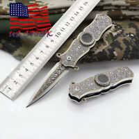 Tactical Fiexed Knife Folding Survival Outdoor Pocket Blade Open Stainless