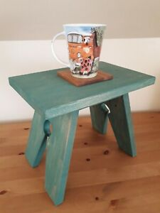 Small pine wood cracket, side table, end table, teal blue
