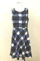 NEW TALBOTS Blue Check Print Fit and Flare Dress MODERN Cocktail Womens MEDIUM 8