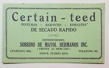 VTG ADVERTISING CARD / SECADOR / SOBRINO DE MAYOL / PONCE PUERTO RICO 1940's