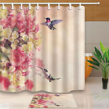 Hummingbirds in Flight Around Flowers Shower Curtain Polyester & Bath Mat 70*70""