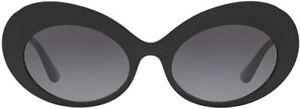DOLCE & GABBANA Sunglasses Black Oval DG4345-F Gray Gradient Gold Logo RRP $600