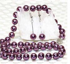 "Long 18"" 8mm Purple Akoya Shell Pearl Necklace AAA h48"