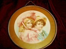 Antique Round Flue Cover Girl w/ Feathered Hat, Pink Dress & Boy w/ Hat 9222