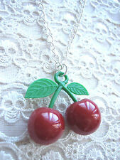 'CHERRYBOMB' LARGE CHRRY CHERRIES NECKLACE / ROCKABILLY / KITSCH / FRUIT