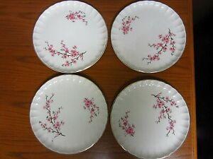 "4 Vintage W.S. George Dinner Plates Pink Flowers Gold Trim 10"""