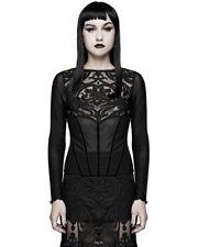 Devil Fashion Womens Gothic Sheer Mesh Top Black Velvet Flock Long Sleeve Shirt