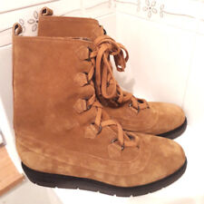 NEXT Brown Tan Real Leather Suede Fur Lined Lace up Boots Size 7 Calf length £65