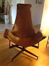 Vintage Mid Century William Katavolos Swiveling Brown Leather Sling Chair 1950s