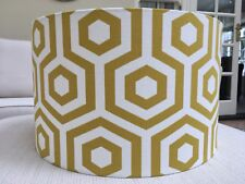 HANDMADE LAMPSHADE HEXAGON HEX  OCHRE YELLOW SAFFRON FABRIC SALE