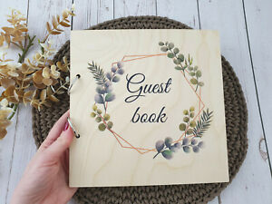50 pages Wooden Wedding Guest Book Instax Polaroid Floral Photo Guestbook Album