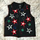 Women (m) VTG UGLY CHRISTMAS SWEATER VEST black zip front santa snowman stars