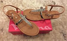 5 Nina Kids Marcey Thong Sandals Strappy Open Toe Blush Burnish Brown Silver $40