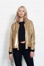UK Womens Sequin Bomber Jacket Ladies Bling Baseball Biker Coat Outwear New