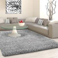 Shaggy Rug Light Grey Modern Deep Pile Carpets Small Large Round Fluffy Area Mat