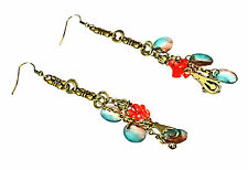 BRONZE LADIES LAYERED AZTEC INSPIRED EARRINGS RED / BLUE STONES (ZX9)