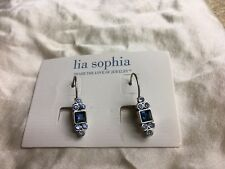 "Lia Sophia ""Dew Drop"" Earrings New Blue cut crystal antique silver tone"