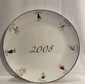 """2008 Pottery Barn China Cookie Serving Platter Plate Reindeers Porcelain 14"""""""