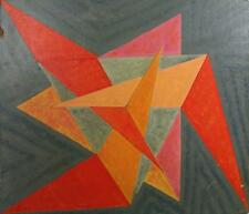 GEOMETRIC SHAPES ABSTRACT Acrylic Painting On Board c1960  CUBISM