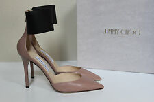 New sz 9 / 39 Jimmy Choo Trinny Nude Leather Pointed Toe ankle strap Pump Shoes