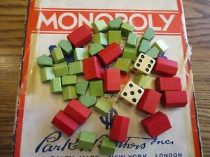 Vintage  Monopoly Wooden Hotels & House & Dice. 44 Pieces.