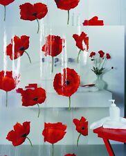 Poppy Cinnabar Duschvorhang 180 x 200 cm. Vinyl Hochwertig Blau Markenprodukt